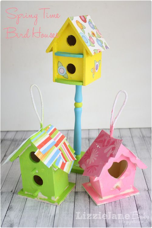 Spring Time Bird Houses (kid made) Very cute! Might make better little girl room decor than actual bird houses with these colors!
