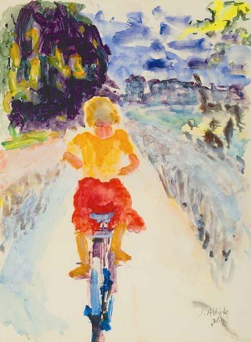 Jan Altink Meisje op de fiets Aquarel en gouache 63 x 47 cm, gesigneerd rechtsonder Gerelateerd