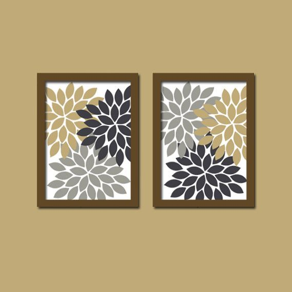 Bold Colorful Navy Tan Gray Beige Floral Flower Burst Set Of 2 Prints Wall  Decor Abstract