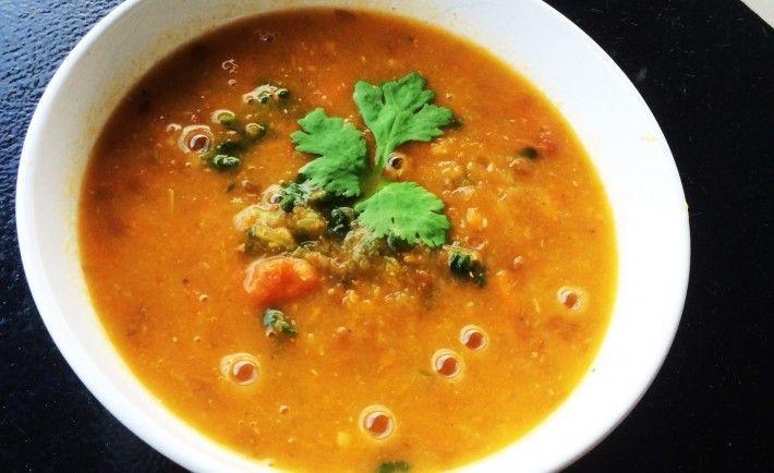 Tomaten-linzensoep met spinazie zonder bouillonblokje en zout