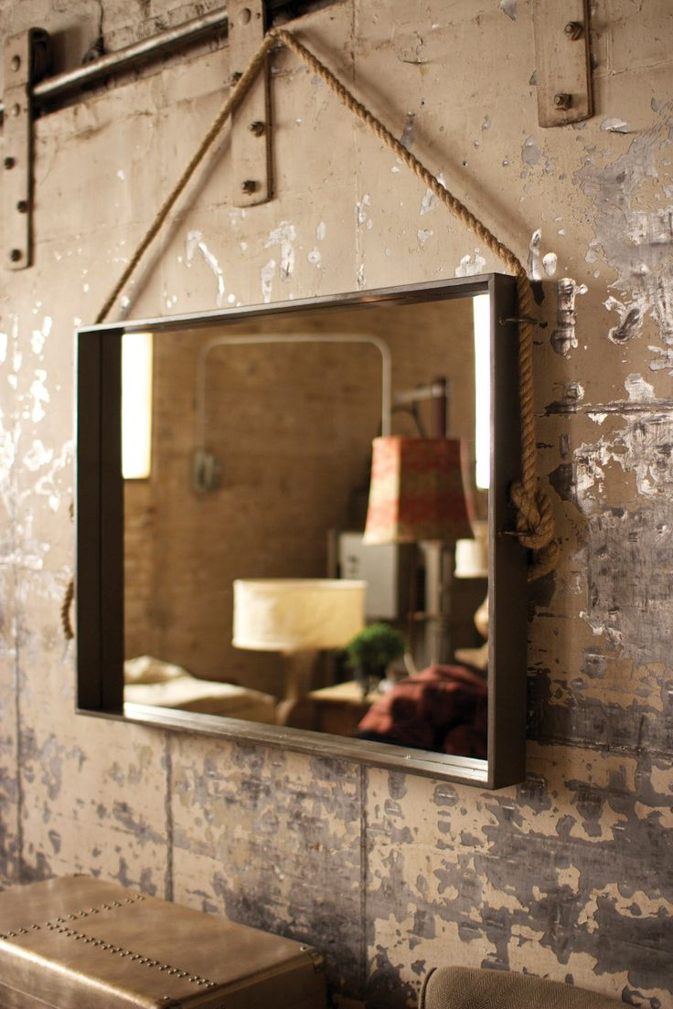Large Rectangle Metal Mirror With Rope Hanger Marcos De