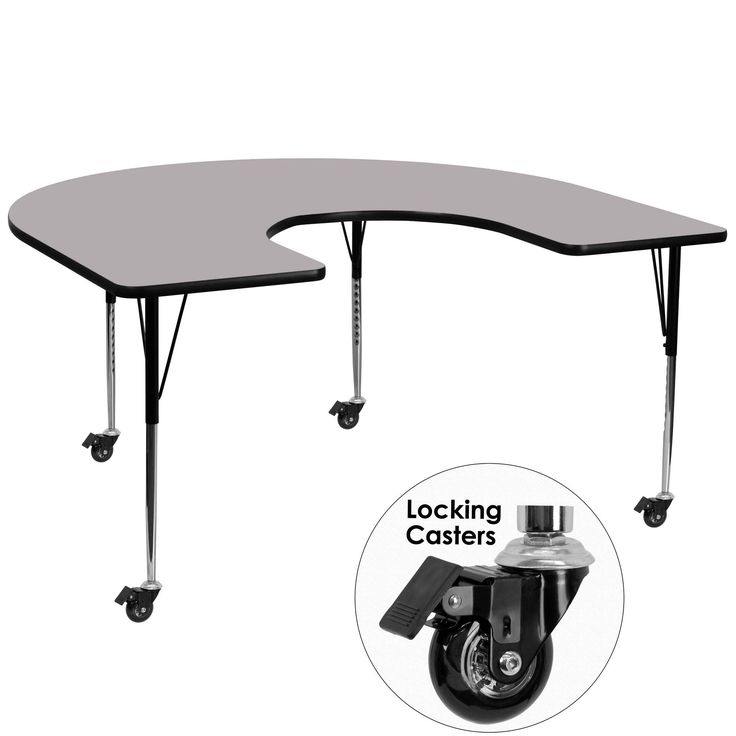 "Mobile 66"" x 60"" Kidney Classroom Table"