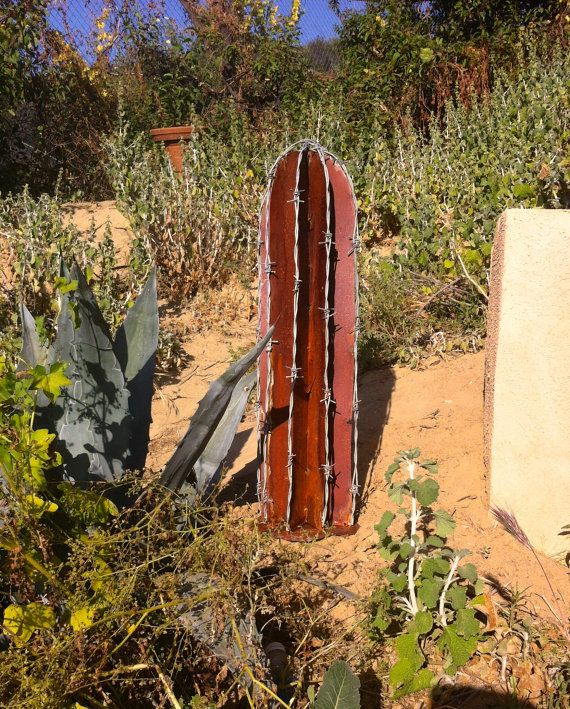 Rustic Barb Wire Cactus Metal Yard Art by TopangaPatina on Etsy