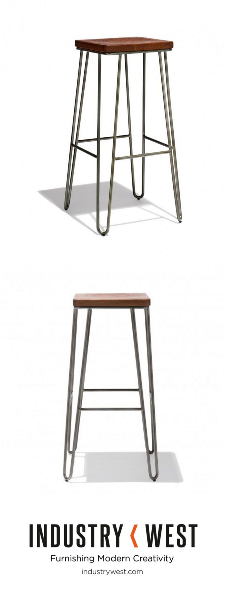 A new, backless companion to our Henry and Spoke Collections the Iris Bar Stool utilities style defining hairpin legs for a clean iconic look that stands the test of time.