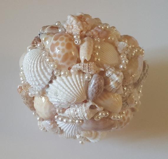 Handmade Seashell Ornament with Czech Glass Pearls  Christmas Ornament Beach Decor