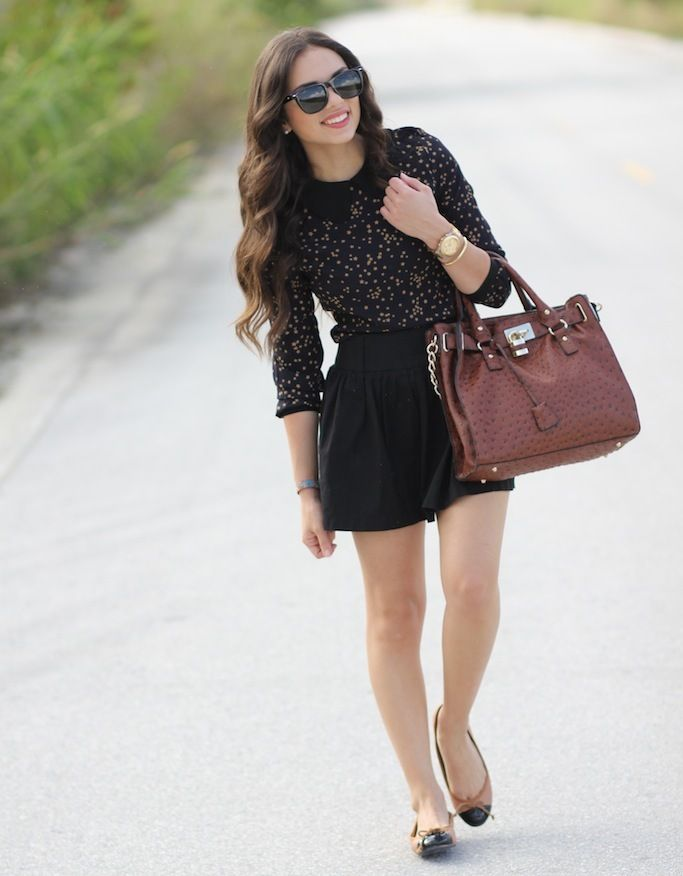 Beige Tip Me Black Ballet Flats Styled by Daniela: Fashion Outfit, Fashion Beautiful, Birkin Bags, Style, Clothing, Cute Dresses, Brown Bags, Leather Bags, Dreams Closets