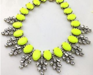 """Electrifying Statement"" necklace neon yellow color statement accessories fashion dare www.thehangoutb.com"