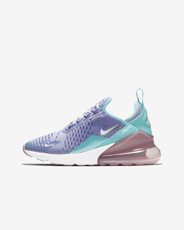 lowest price 694b6 249a1 Nike Air Max 270 Twilight Pulse Light Aqua Purple Blue ABV1236 400 Kids  Girls GS