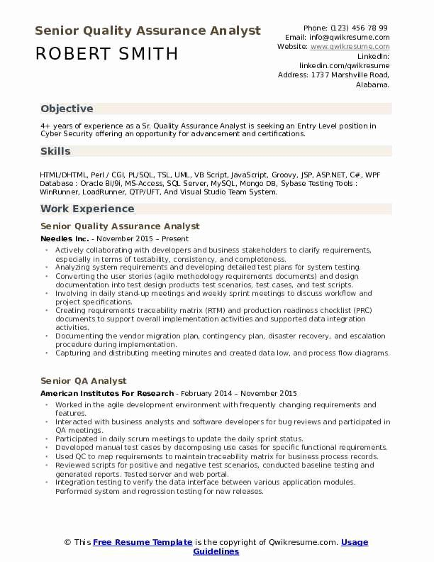 Cyber Security Entry Level Resume Fresh Senior Quality Assurance Analyst Resume Samples In 2020 Security Resume Job Resume Samples Resume Objective