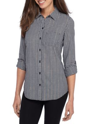 Kim Rogers Women's Roll Sleeve Plaid Shirt - Black/Gold - Xl