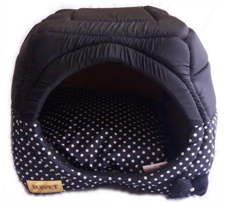 Toca Iglu para cachorro, cama 2 x 1, Preto de bolinhas, Tam. G Comprar em www.amoreseamoras.com.br