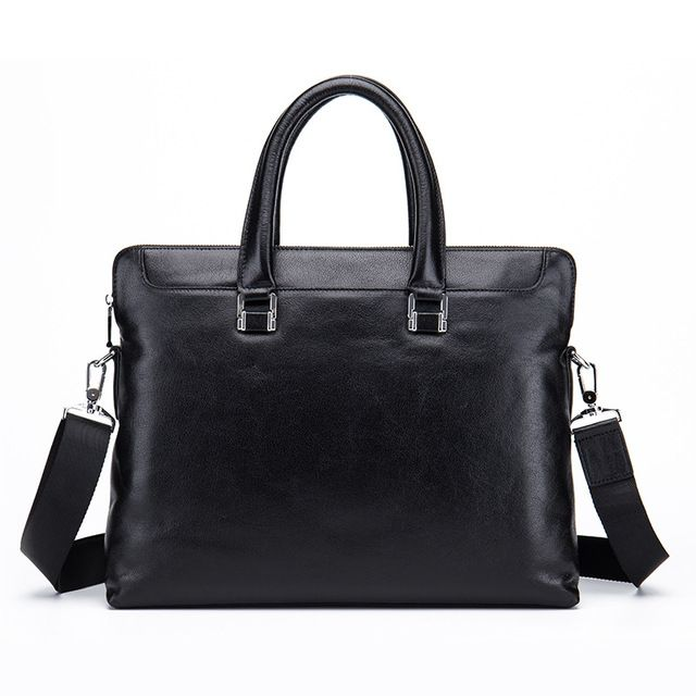 Men Casual Briefcase Business Shoulder Bag Genuine Leather ...