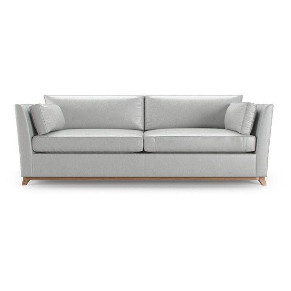 Joybird Furniture Roller Mid Century Modern Purple Leather Sleeper... ($3,839) ❤ liked on Polyvore featuring home, furniture, sofas, purple, leather couch, leather sofabed, leather sofa sleeper, mid-century sofa and mid century modern leather couch