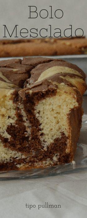 Bolo mesclado, parte branca de baunilha e parte de chocolate tipo pullman