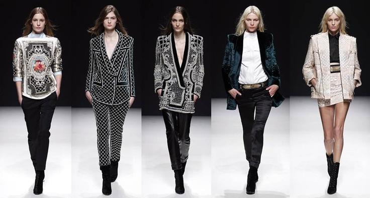Balmain: Delicados bordados convierten las chaquetas y pantalones en tapices y gobelinos que envuelven de forma delicada y muy elegante a una mujer femenina y moderna.