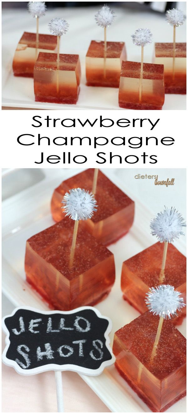 A fun New Years treat - Strawberry Champagne Jello Shots. Quick and Easy dessert.