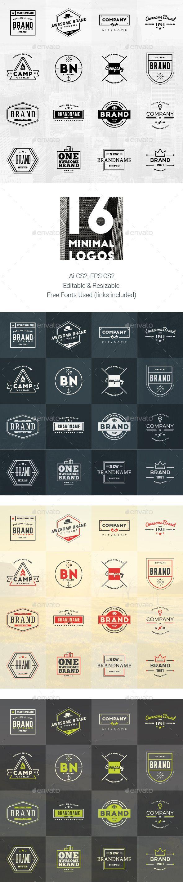 Set of 16 Minimal Logos #design Download…