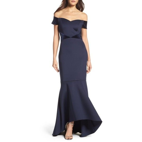 Women's Eliza J Off The Shoulder High/low Mermaid Gown (€190) ❤ liked on Polyvore featuring dresses, gowns, navy, petite, off-shoulder ruffle dresses, navy blue gown, petite evening dresses, mermaid gown and flutter sleeve dress