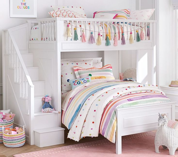 Fillmore Stair Loft Bed For Girls Room Bunk Beds For