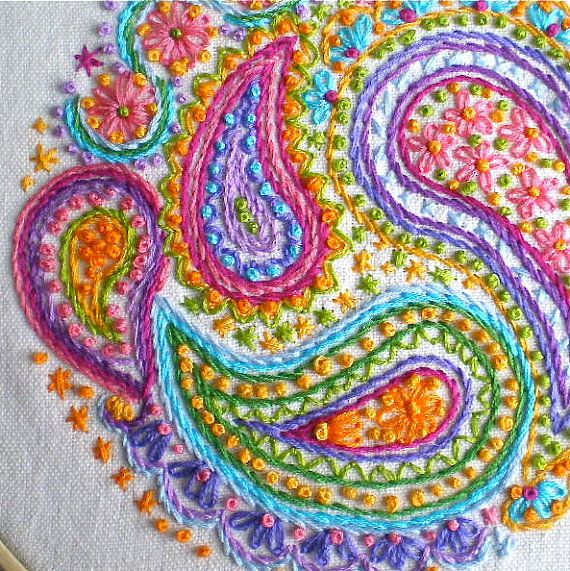 "Paisley, Embroidery Hoop Art, Hand made, Original, yellow, pink, green, blue, purple, orange, 8 1/4"", SALE, was 125 now 75"