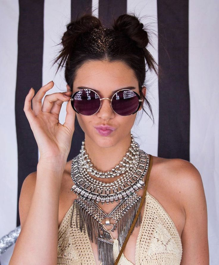 Kendall Jenner Coachella 2016, with round sunglasses. Find more round sunglasses at http://www.smartbuyglasses.com/designer-sunglasses/general/-Women-Round---------------------