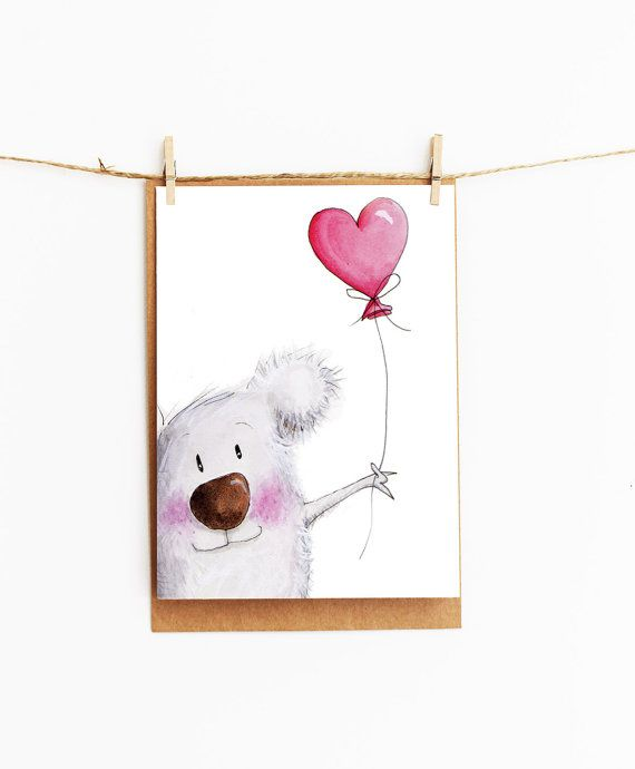 greeting card - koala - girl gift card - 106 x145mm on Etsy, $4.00 AUD