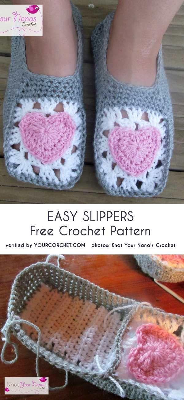 Easy Slippers Free Crochet Pattern | Söckchen | Pinterest | Crochet ...