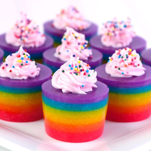 "rainbow jello ""cupcakes""... this is and alcohol version but if you read the comments it tells you how to go the virgin route :)"