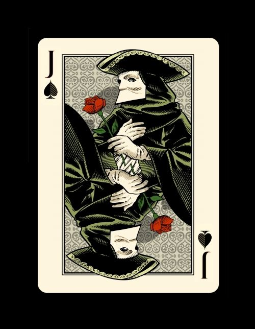 "Jack of Spades - the ""Bauta"" -Bicycle ""Venexiana"" deck of playing cards by Half Moon Playing Cards"