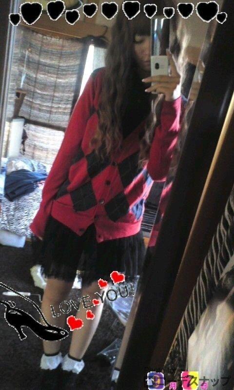 秋ファッション2 アーガイル柄カーディガン 黒パニエ フリル靴下 ===== ファッションタイプ:ガーリー