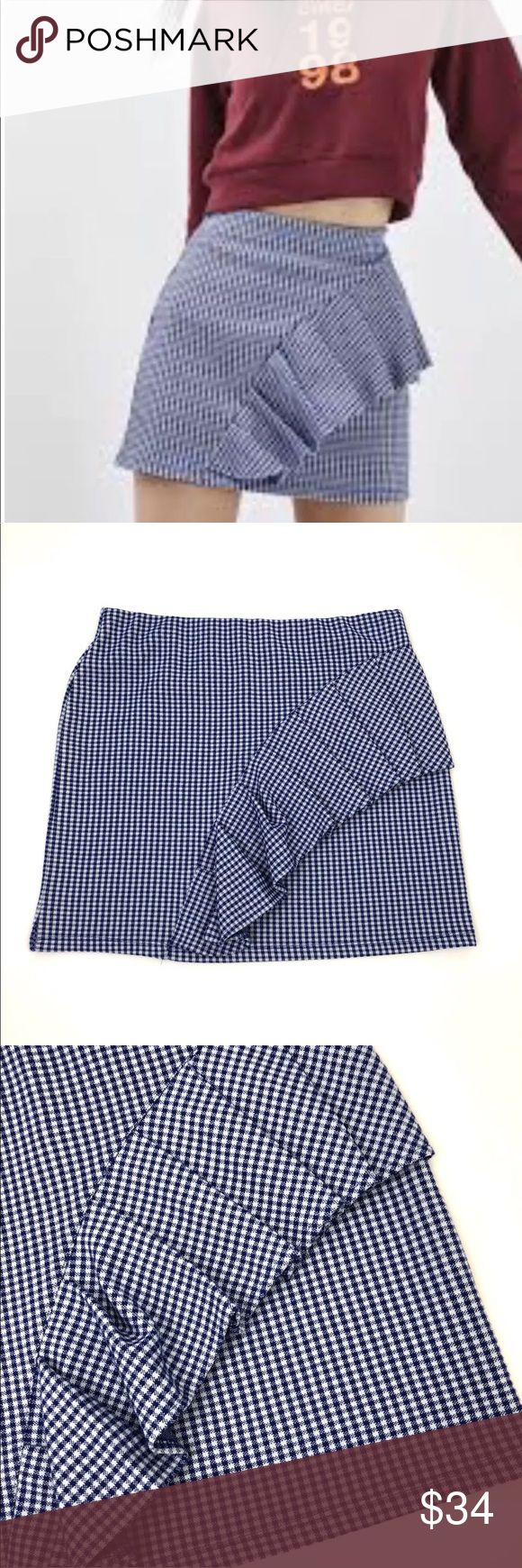 """NWT Topshop Blue Gingham Ruffle Jersey Mini Skirt Topshop Blue Gingham Ruffle Jersey Mini Skirt   Women's Size 8  Waist: 15""""  Length: 17""""  Condition: New with tags. Topshop Skirts Mini"""