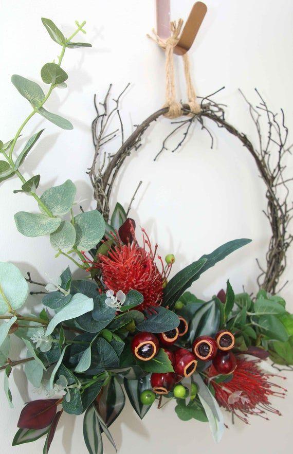 Australian Banksia Christmas Decoration Door Eucalyptus Flower Gift Gumnut Native Red Rustic Christmas Wreath Door Decorations Australian Christmas
