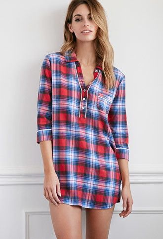 A PJ shirt dress cut from tartan plaid flannel with a partially buttoned placket, 3/4 sleeves, and a split round neckline.- $17.90 F21