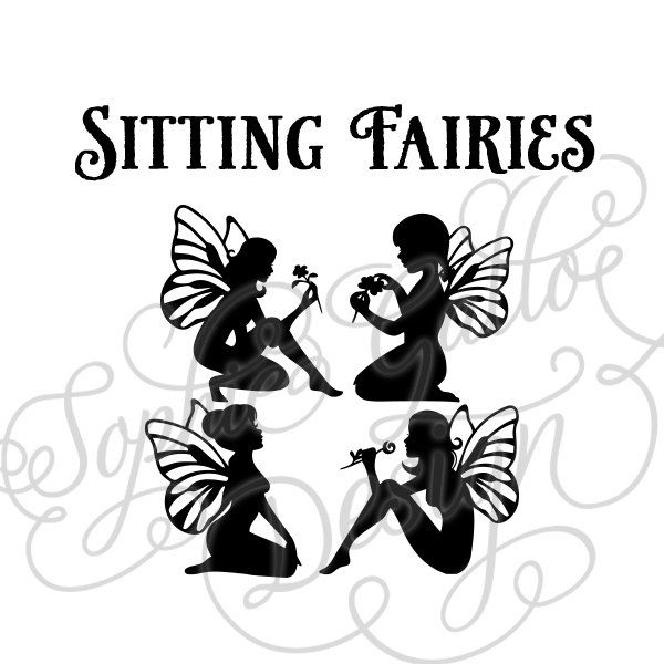 Sitting Fairies SVG DXF digital download files for Silhouette Cricut vector clip art graphics Vinyl Cutting Machine Screen Printing