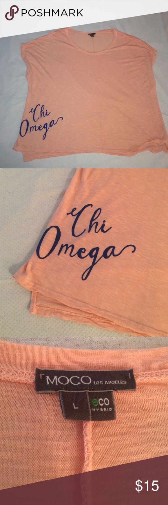 """Chi omega piko shirt Light pink piko with """"chi omega"""" written in blue writing on the bottom right side. Only worn once, in great condition! Feel free to make reasonable offers! Tops Tunics"""