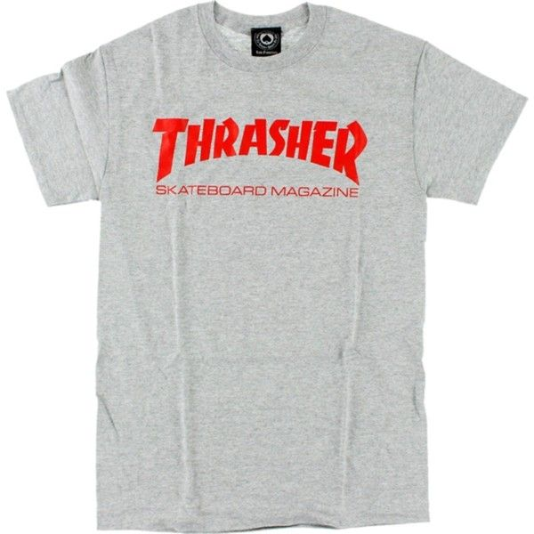 Thrasher Skate Mag Short Sleeve L-Heather/Red T-Shirt ($16) ❤ liked on Polyvore featuring tops, t-shirts, sport t shirt, red short sleeve top, sport top, red tee and short sleeve t shirt