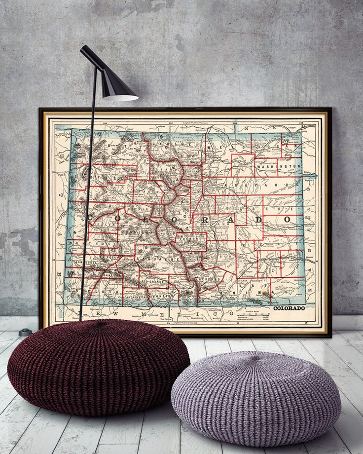 Old map of Colorado Vintage map restored Wall map print on
