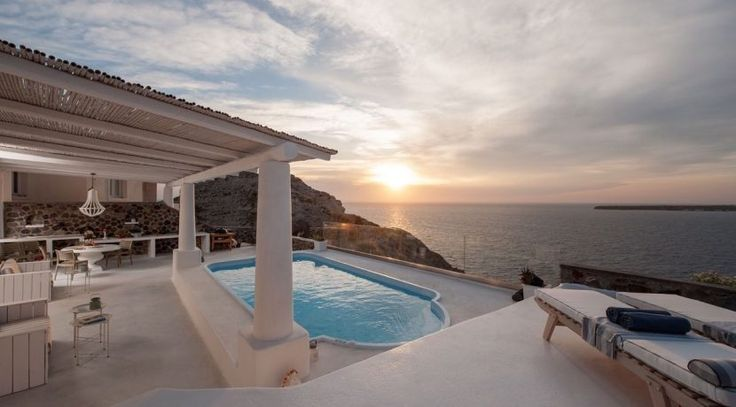 The sunset in Greece is even better if you admire it directly from the pool in your Santorini villa.  #realestate #luxuryhome #luxurylife #pool #poolside #dreamhouse #Santorini #sea #view #billionaire #instaluxe #sunset #sunsetlovers https://www.luxuryestate.com/p40985501-luxury-home-for-sale-santorini