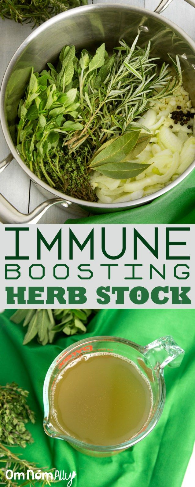 Immune Boosting Garden Herb Stock--for a flavorful meal base that's also antibacterial, anti-inflammatory and immune boosting
