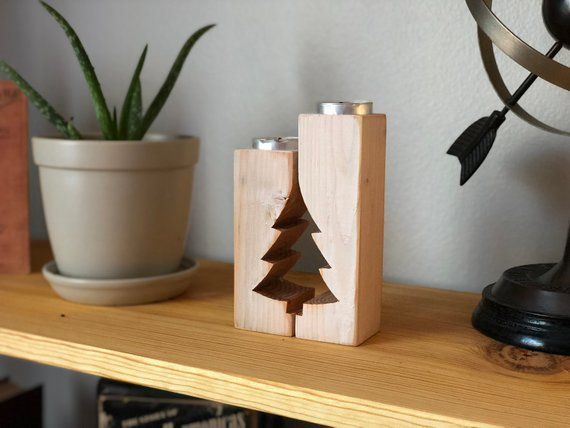 Christmas Tree Rustic Candle Holder – Advent Candle Holder – Mantle Decor Farmhouse Antique Tea Light Holders Christmas Candles