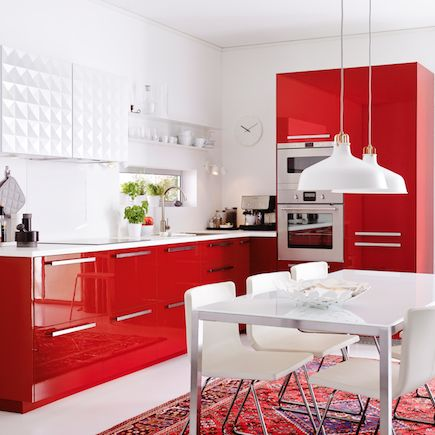 Kitchen ikea metod ringhult red gloss for Cuisine ikea gloss
