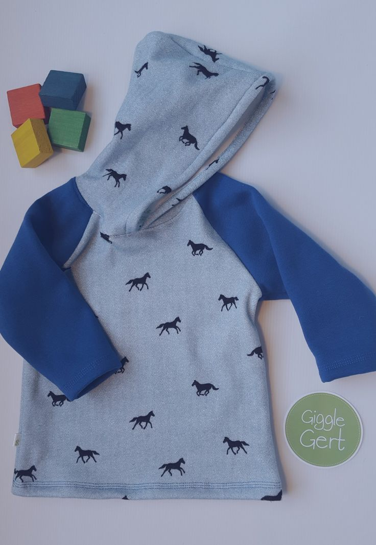 Size 1 hoodie. Plush lined polycotton/spandex front, back & hood with cute horsey pattern. Handmade in NZ.  GiggleGert Clothing on etsy