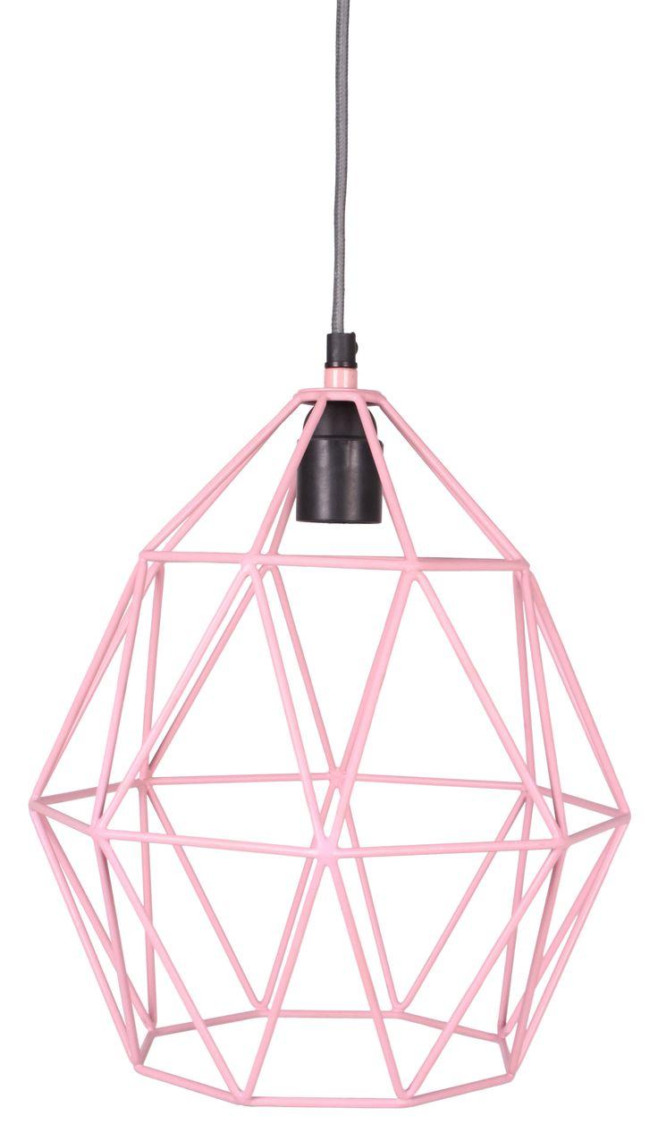 Wire Hanglamp pink - Kidsdepot - Hippe Accessoires, Verlichting -