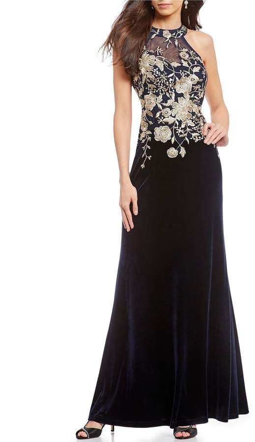 92fa6a8665 Cachet Embroidered Velvet Halter Gown  Embroidered Cachet Velvet ...