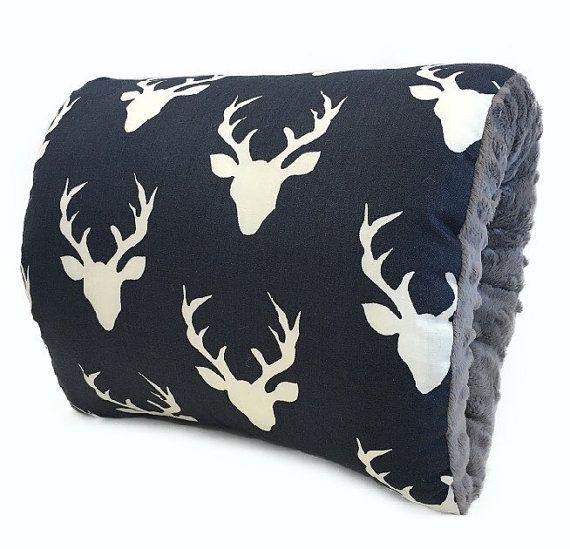 Nursie cerf minuit avec Minky gris/Deer bras oreiller/Navy l'allaitement coussin/voyage coussin