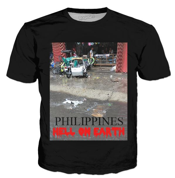 "Custom Classic T-Shirt Black. Your statement ""Philippines – Hell on Earth"" comes also in German, Spanish and French language! So the World may know! Also, available as Sweatshirt, Hoodie, Yoga Pants, Handy cover, Joggers, Leggings, Tee, blouse, skirt, shirt, sweater, Beach Towel, Tank Top, Crop Top, pillowcase, Onesie, fleece blanket, dress, Bandana, mug, glass, laptop, shower curtain. Philippines, Manila, Bohol, Makati, travel,  novelty, World, apparel, Pinterest, pin, bestseller."