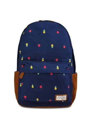 correct volume bagstationz Flower Print Canvas Backpack from Bagstationz in blue and navy_1