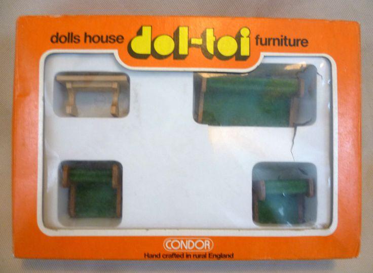 Vintage Dolls House Dol Toi Condor Living Room Furniture Boxed Set