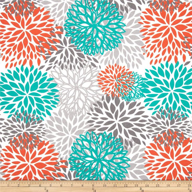 Bright, cheery shades of teal and orange toned down by greys in a chrysanthemum / bloom / starburst design, great for gender neutral nursery. Premier Prints Blooms Pacific design.
