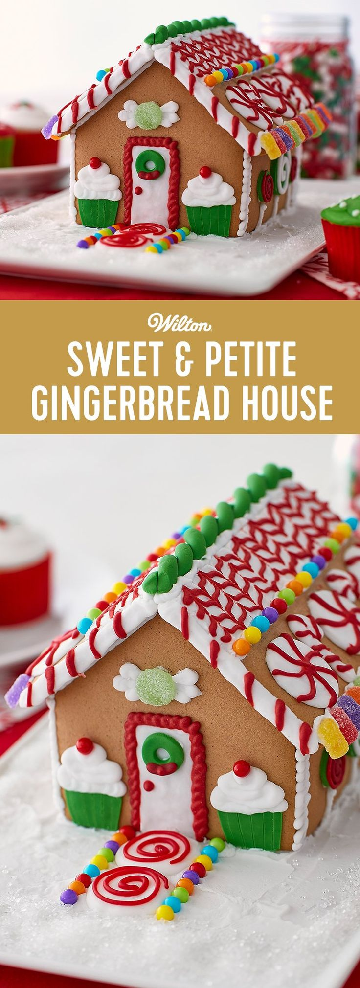 How to Decorate a Sweet & Petite Gingerbread House - These decorated houses are so trend worthy! It's great fun to build and decorate one designed in gingerbread with cute icing and candy decorations. Great fun to decorate at school parties and family celebrations! Skill level: Beginner #gingerbreadhouse #gingerbread #christmas #wiltoncakes
